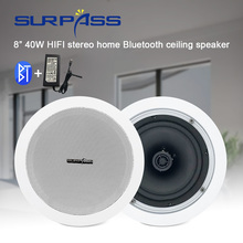 Bluetooth Ceiling Speaker HiFi Stereo Sound Home Audio Background Music Player PA System 40W Indoor White In Wall Loudspeaker