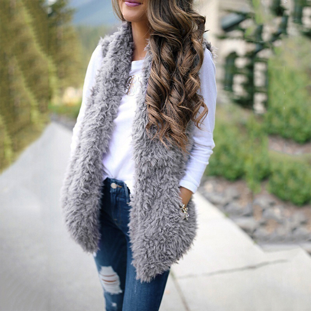 Winter waistcoat for women Plush Faux Fur Solid Casual Sleeveless Warm Vest Jacket warm cashmere cardigan chalecos mujer 2020