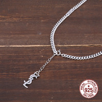 925 sterling silver necklace personality fashion popular letter chain punk hip hop style to send gifts for lovers