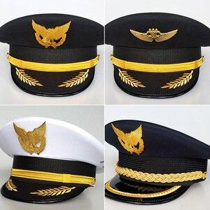 Unissex pessoal de segurança profissional chapelaria chapéu ferroviário vôo companhia aérea capitão uniforme beirais boné piloto chapéu da aviação civil