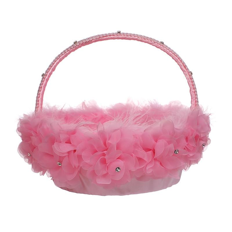 Popodion Wedding Supplies Wedding Flower Girl Lace Ostrich Feather Bridal Flower Basket for Flower Girls WAS10210