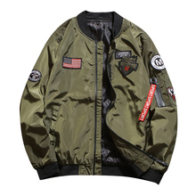 Mens fashion jacket mens tooling autumn air force bomber loose large size casual