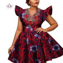 Robe africaine en cire pour femmes, imprimé, mode, Bazin Riche, manches courtes, robe pour femmes, Dashiki, vêtements de Style africain WY228