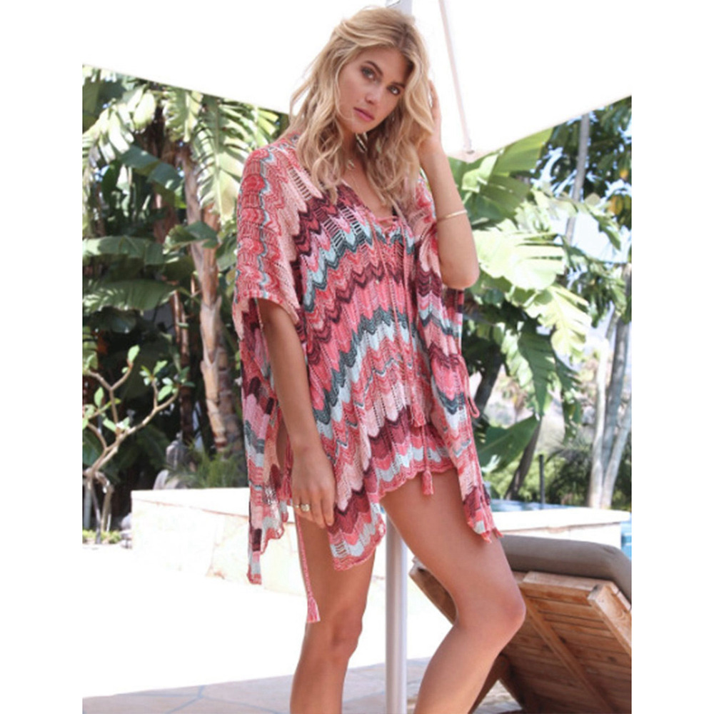 Sexy Beach Tunic Deep V Mesh Mini Dresses Knitted Cover Up 10