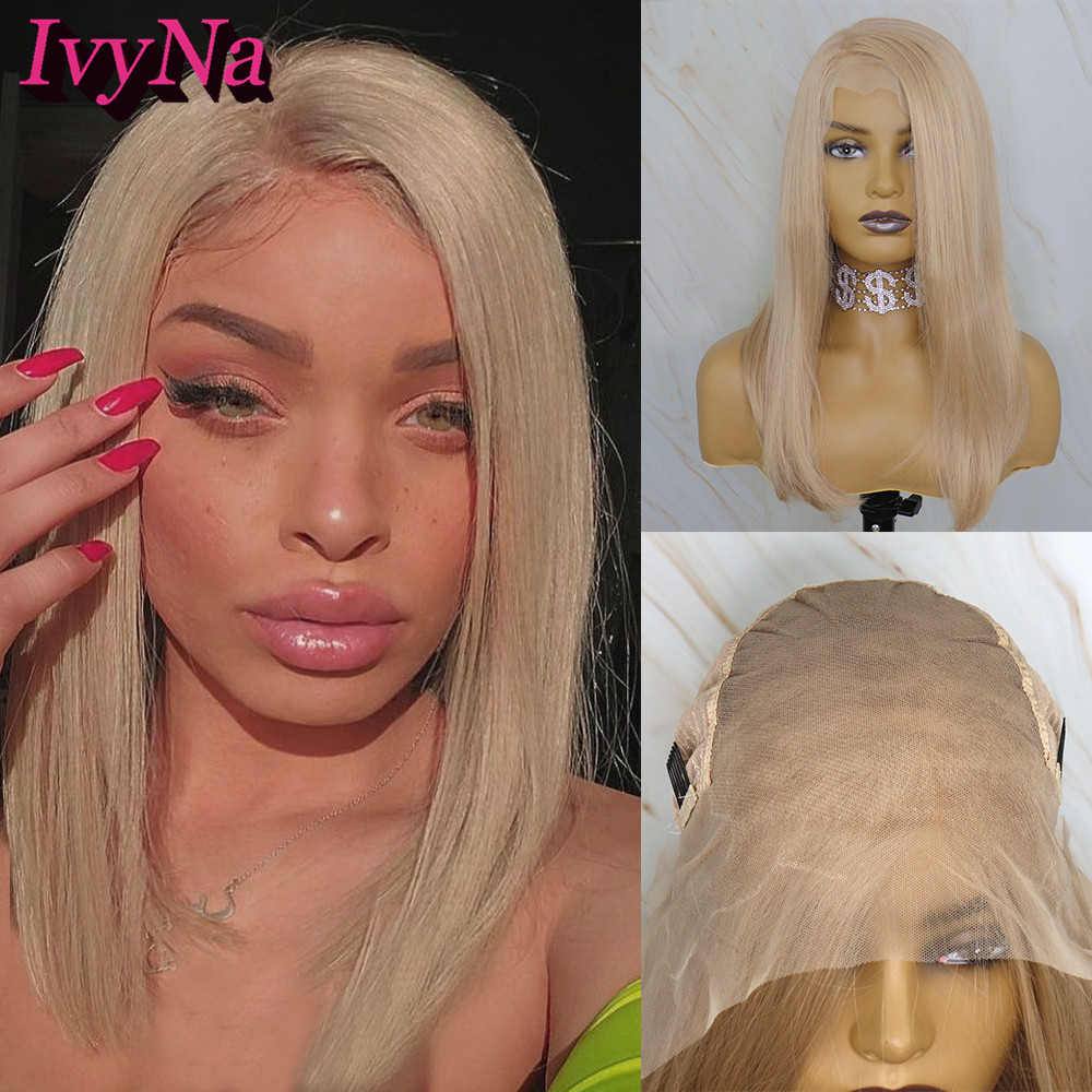 IvyNa Shoulder Lenght Short Bob Synthetic Lace Front Wigs Honey Blonde Futura Heat Resistant Bob 13x6 Synthetic Lace Front Wigs