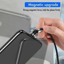 Nowa aktualizacja 3w1 kabel magnetyczny 3A szybka ładowarka ładowanie 540 ° 360 ° kabel USB Micro typ C kabel telefoniczny obracanie 180 Q1S8 tanie tanio CUJMH TYPE-C Mini USB Magnetyczne Nylon Braided