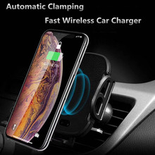 Automatic Car Phone Holder 10W Support Qi Auto Phone Wireless Charging Cradle Fast Charger Induction Charge For Xiomi Mi 9 SE