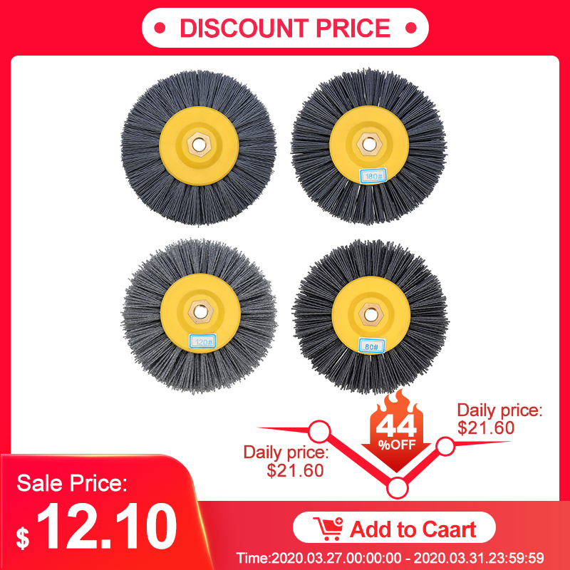 150x40mm M14 Nylon Wire Drawing Wheel Brush 80/120/180/320 Grit Drum Burnishing Polishing Wheel