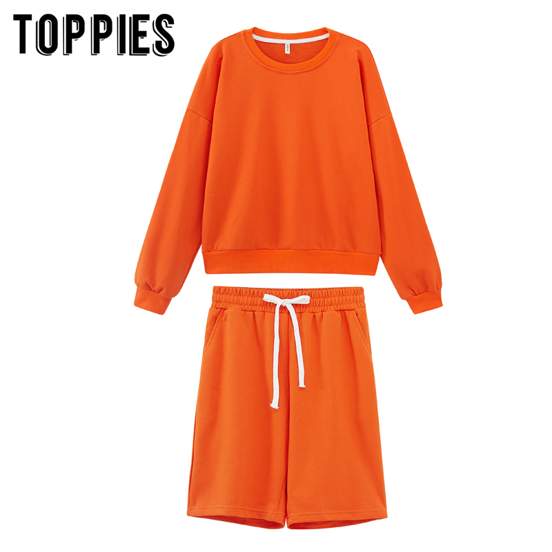 toppies 2020 women two piece set tracksuits o-neck sweatshirts elastic high waist bermuda shorts solid color 3