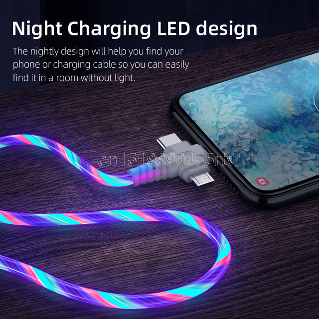 3in1 Flow Luminous Lighting usb cable for iPhone 12 11 Pro 3 in 1 2in1 LED Micro USB Type C 8Pin charger Wire for Huawei Xiaomi 3