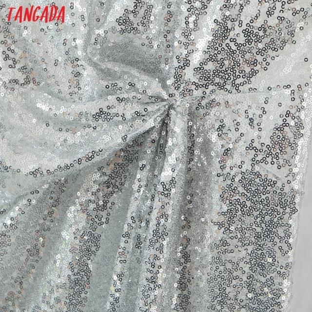 Tangada Women's New Year Dress Fashion Beading Short Dresses Strap Female Party Dress SL139 3