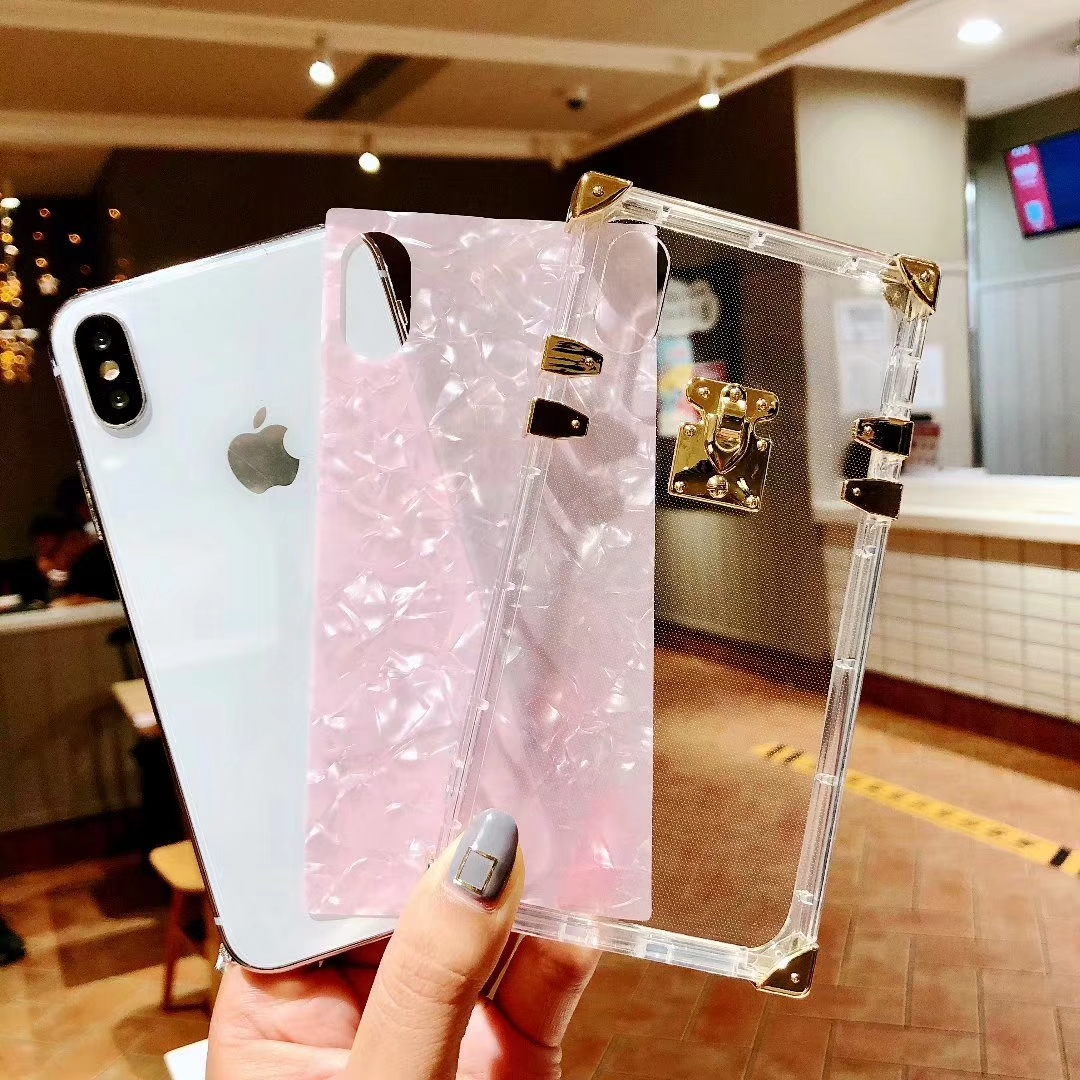 Fashion Square Clear TPU Case for iPhone 11Pro X XS MAX XR Luxury Bling Metal Conch Pink Back Cover Case for iPhone 6s 7 8 Plus