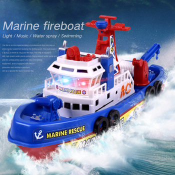 High Speed Music Light Electric Marine Rescue Fire Fighting Boat Non-Remote Toy Hign Quanlity Drop Shipping for Kids цена 2017