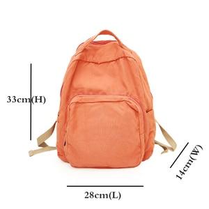 Image 3 - 2020 Korean Version Backpack Women Canvas Travel Bag Women Fashion High Capacity Solid Color Backpack Student Zipper School Bag
