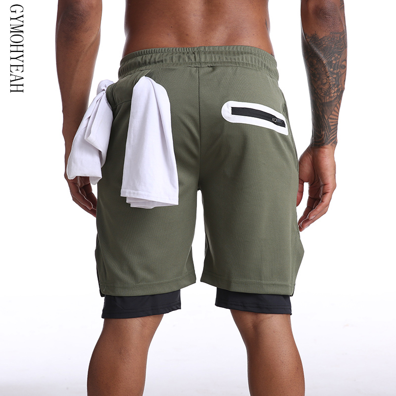 Multi-pocket Zip Pocket Men Joggers Shorts Mens 2 In 1 Short Pants Gyms Fitness Bodybuilding Workout Quick Dry Male Beach Shorts