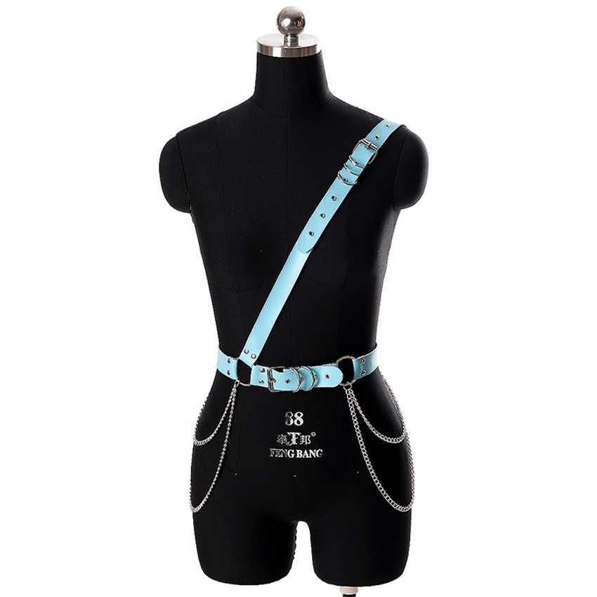 Arnés de cuero PU sujetador lencería Sexy para mujer correas de hombro fetiche ajuste cuerpo jaula arnés de suspensor cinturón Pole Dance Rave
