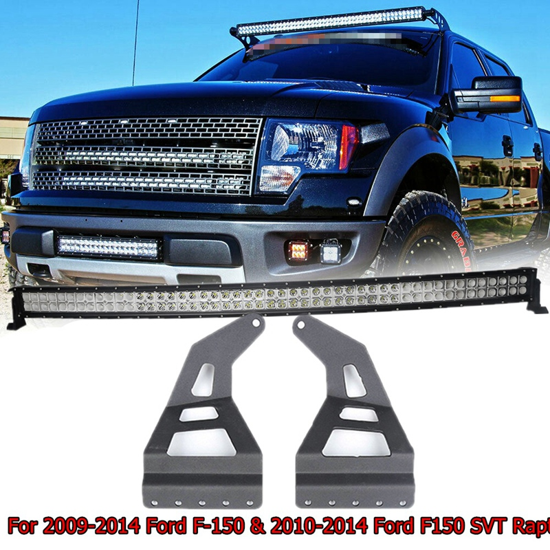 50 Inch Roof Windshield Light Bar Mount Bracket Straight/Curved LED For Ford F150 1997-2003