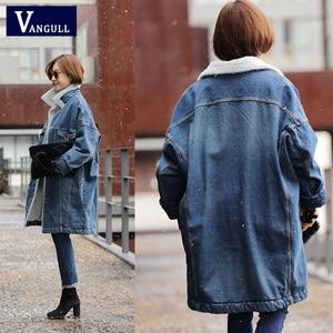 Image 2 - Vangull futro ciepła zimowa kurtka dżinsowa kobiet 2019 nowych moda jesień wełniana podszewka dżinsy płaszcz kobiety kurtki pilotki Casaco Feminino