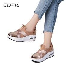 EOFK/Женская обувь на платформе; Новая модная Осенняя Повседневная Удобная обувь золотистого цвета без застежки; женские кроссовки; мокасины на плоской подошве; лоферы