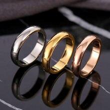 Anillo circular de Oro fino rosa para hombre y mujer, sortija de boda exclusiva para pareja, joyería sencilla de alta calidad