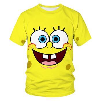 New Fun Yellow Bob T-shirt Boy Girl Kid Sponge 3D Printed Kids Sports Short Sleeve Anime Cartoon Unisex Top