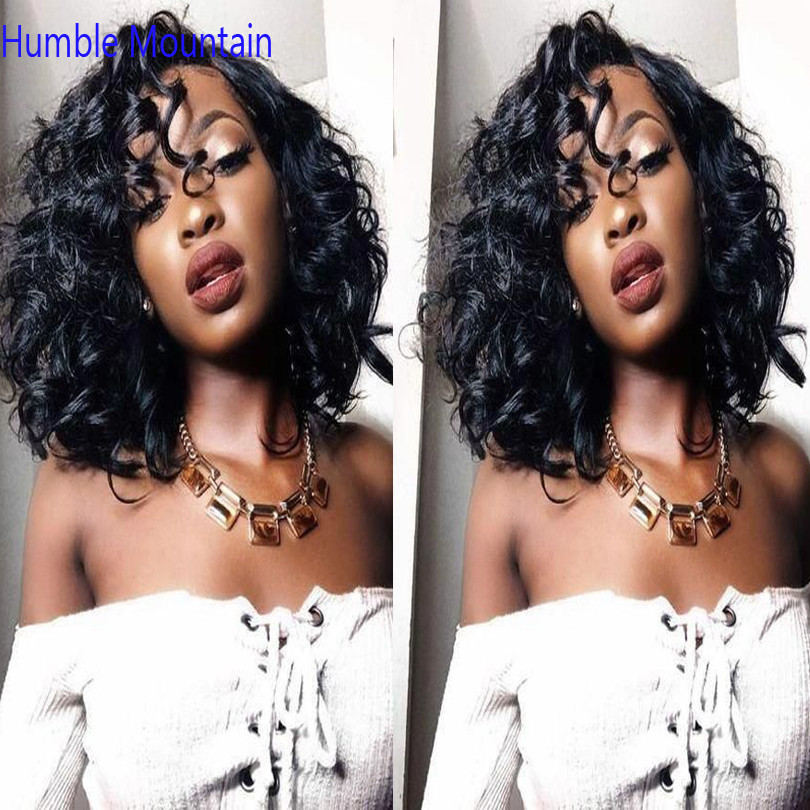 Brazilian Curly Human Hair Wig Short Bob 360 Lace  Frontal Wigs With Pre Plucked Deep Wave Wig For Black Women Remy