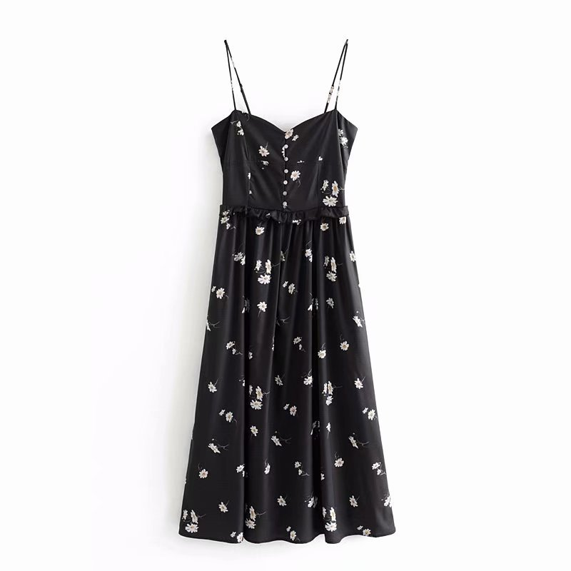 2019 Spring Europe And America WOMEN'S Dress New Style Daisy Printing Slip Dress 9358