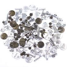 Colgantes redondos con letras del alfabeto, flor, estrella, palma, corazón, fabricación de joyas, dijes, pulsera DIY, accesorios artesanales hechos a mano