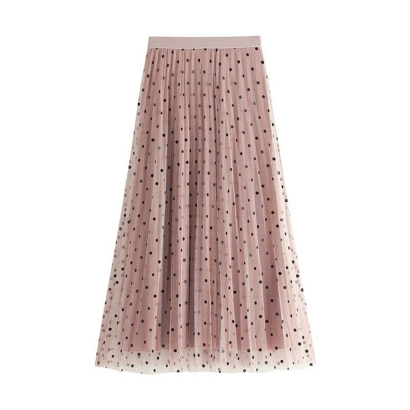 2020 Spring New Velvet Skirt WF0042 Women Ladies Pink Midi Pleated Skirts Polka Dot Tulle Long Black Skirt