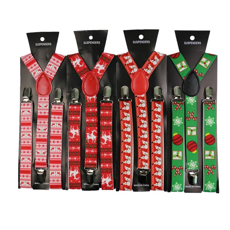 Winfox Fashion 2.5cm Wide Christmas Suspenders Adjustable Adult Suspender Strap Christmas Tree Pattern Women Men Pants