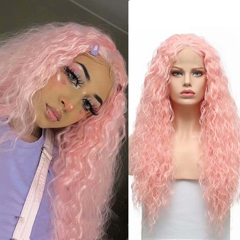 AIMEYA Light Pink Long Body Loose Curly Synthetic Lace Front Wig For Women Free Part Heat Resistant Fiber Cosplay Girl Wigs