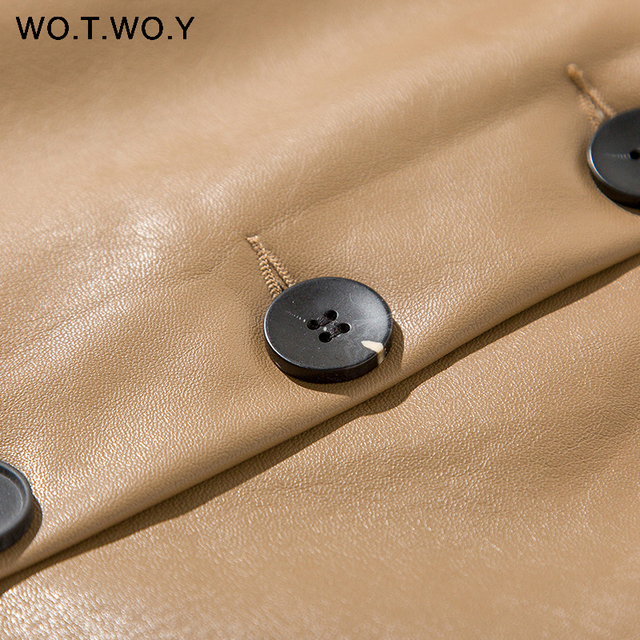 WOTWOY Elengant High Waist Leather Penci Skirt Women Multi Button Wrapped Skirts Mujer Faldas Solid Pockets Femme Jupes New 2020 6