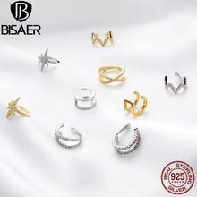 BISAER-100% Plata de Ley 925 con clip para oreja con letras para mujer, aretes geométricos de circón deslumbrante, joyería sencilla, 2020, ECE994