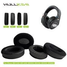 Nullkeai Replacement Earpads for Shure SRH1440 SRH1840 SRH940 SRH240 SRH440 SRH840 Headphones Thicken Leather Velvet Velour