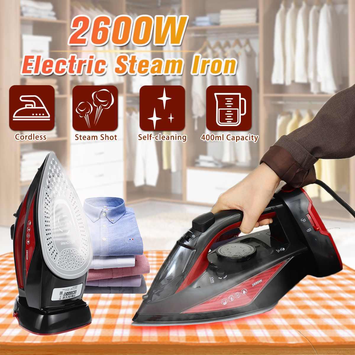 2600W 400ml fer à vapeur portatif pour vêtements sans fil fer à vapeur électrique 3 vitesses ajuster maison voyage fer céramique semelle