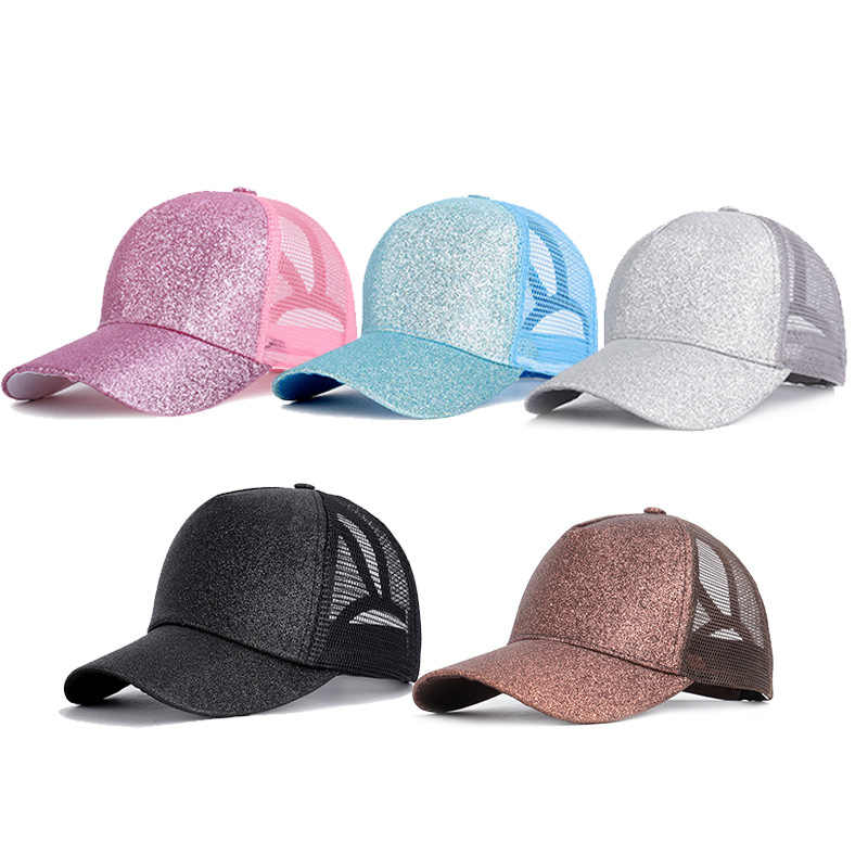 2019 Glitter Ponytail Baseball Cap Women Snapback Dad Hat Mesh Trucker Caps Messy Bun Summer Hat Female Adjustable Hip Hop Hats