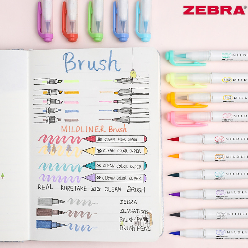 5pcs Japan Zebra WFT8 MildLiner Double-head Highlighter Soft Brush Pen And Hard Tip Marker Pen Office School Supplies Multicolor