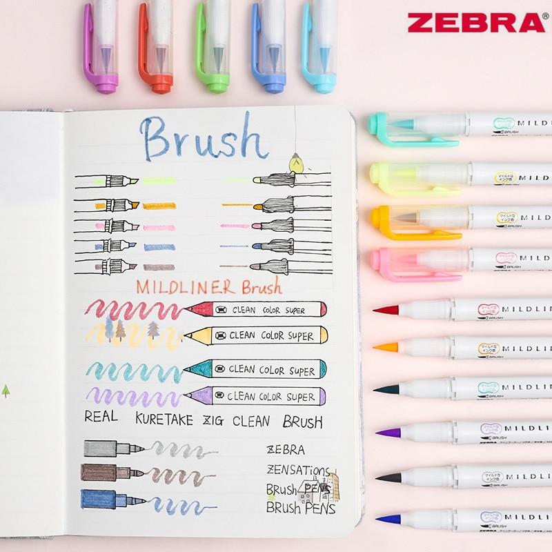 5pcs Japan Zebra WFT8 MildLiner Double-head Highlighter Soft Brush Pen And Hard Tip Marker Pen Office School Supplies Multicolor