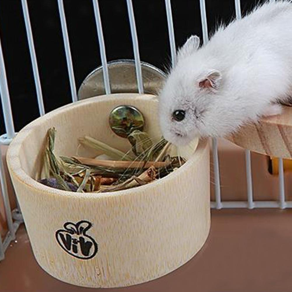 Hot Sale Small Pet Hamster Squirrel Rabbit Feeder Hanging Water Food Bamboo Bowl Cage Decor Pet Shop