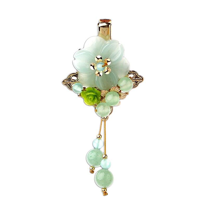 Vintage élégant résine fleur épingle à cheveux accessoire cheveux pour femme chinois ethnique cheveux bijoux Barrettes ornements cheveux accessoires Clip