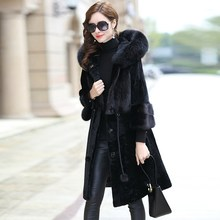 Natural Real Fur Coat Female Mink Fur Collar 100% Wool Jacket Winter Coat Women Clothes 2020 Vintage Double-faced Tops ZT4080(China)