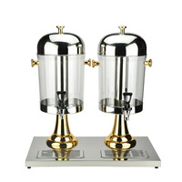 16L Stainless Steel Two Cylinders Drinking Juice Dispenser with Separate Water Tank