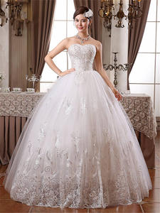 Wedding-Dresses Bride Frocks Photo Strapless Plus-Size White Cheap Real Lace No HS099
