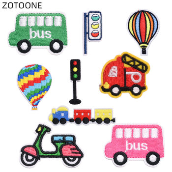 ZOTOONE Cartoon Car Patches Iron on Semaphore Badge DIY Embroidery Patches for Clothing Sewing Balloon Stickers Cloth Applique H image
