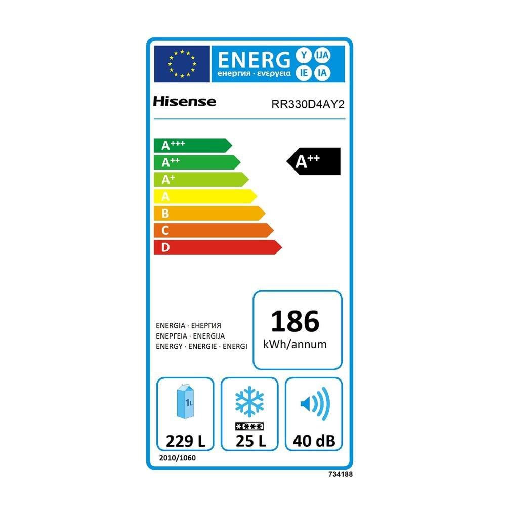 Hisense RR330D4AY2 réfrigérateur, réfrigérateur, 254 litre, faible bruit, Design vintage, couleur crème, pas classe givre à + + - 6