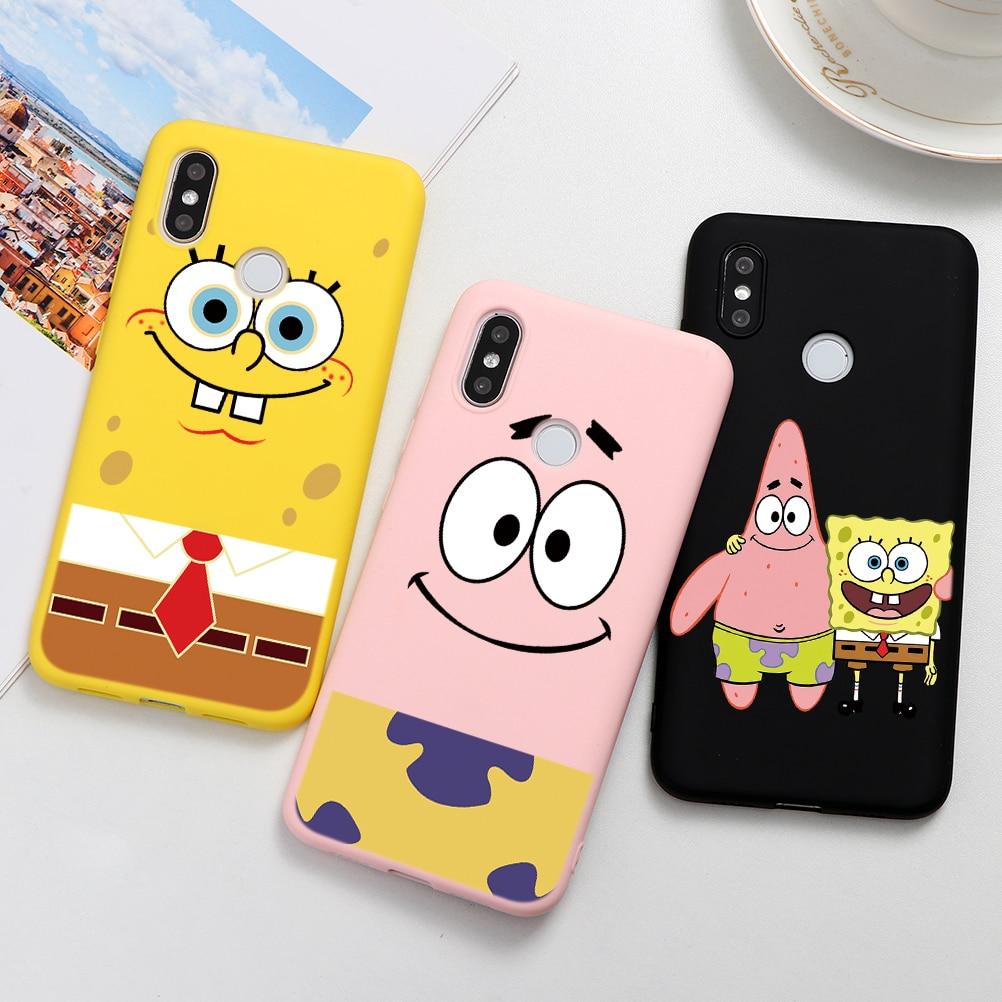 Spongebobs Squarepants Cute Coque Case For Xiaomi Redmi Note 8 8T 7 K30 K20 S2 6 5 Pro Plus 6A 7A 8A Soft TPU Case For Redmi K30