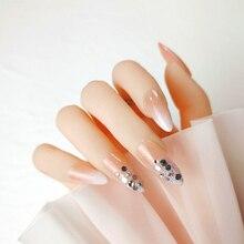 24pcs Phototherapy Wearable Nail Paillette Diamond Decor Fake Nails High-end Pure Color Gradient Detachable Fingernails