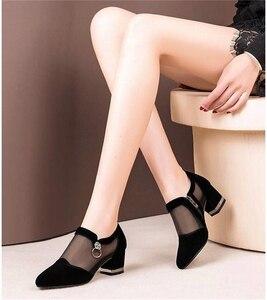 Image 1 - 女性のハイヒールの靴メッシュ通気性pompsジップポインテッドトゥ厚いファッションの女性のドレスの靴エレガントな靴