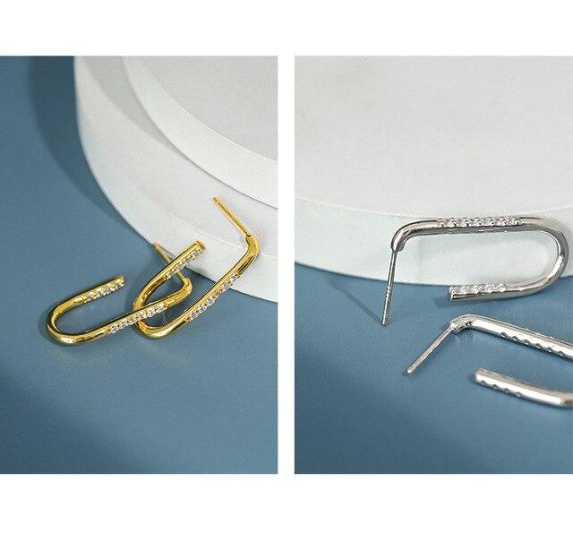 F.I.N.S Echtem S925 Sterling Silber Ohrringe Einfache Geometrische U-Shaped Zirkon Hoop Ohrringe Minimalist Feine Schmuck