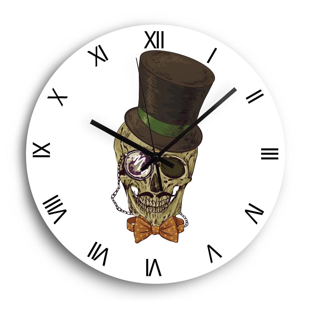 Skull Decorative Wall Clock Modern Design Roman Numbers Silent Acrylic Clock For Living Room Wall Watch Holiday Home Decor Wall Clocks Aliexpress